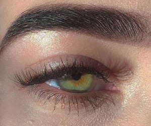 eyebrows, eyes, and green image