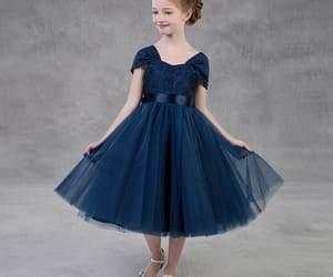 lace, simple dress, and navy blue dress image