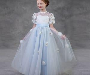 tulle, sky blue dress, and flower girl dress image