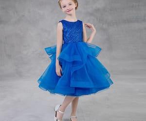 glitter, puffy dress, and royal blue dress image