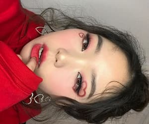 girl, asian, and red image