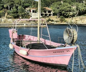 pink, boat, and nature image