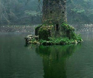 castle, lake, and water image