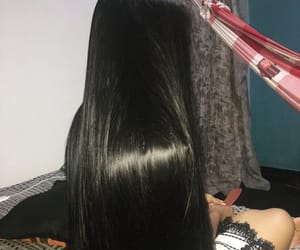 black, black hair, and long image