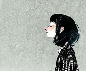 girl, art, and rain image