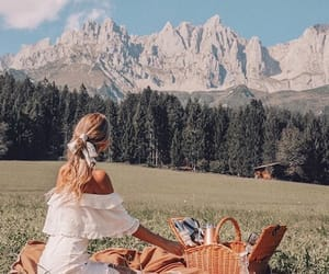 mountains, girl, and picnic image