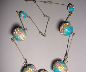 etsy, floral necklace, and turquoise necklace image