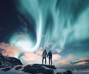 blue, couple, and northern lights image