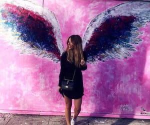 girl, pink, and angel image