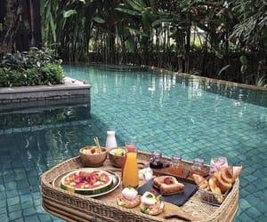 food, pool, and breakfast image