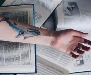 books, blue, and tattoo image