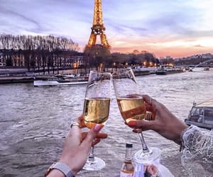 baguette, champagne, and eiffel tower image