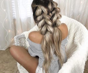 braid, cheveux, and grey image