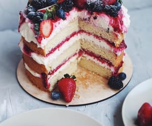 berries, cake, and strawberry image