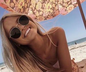 beach, blonde, and sunglasses image