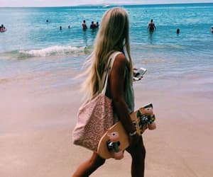 beach, skate, and blue image