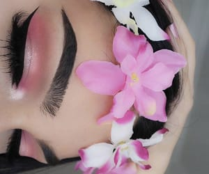 makeup, eyebrows, and flowers image
