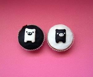 b&w, cake, and characters image