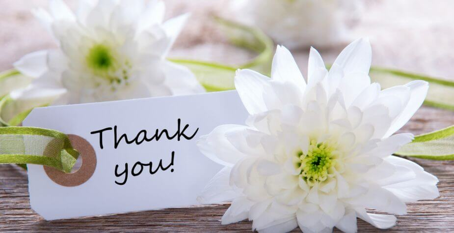 thank you, small card, and white flowers image