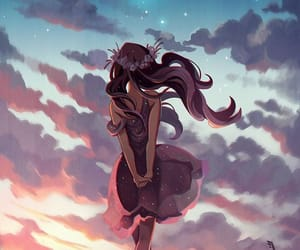 galaxy, girl, and sky image