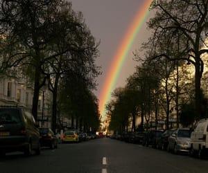 rainbow, street, and city image