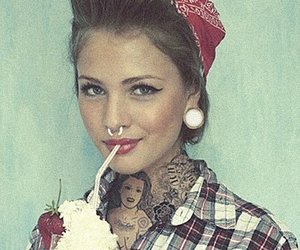 girl, Pin Up, and tattoo image
