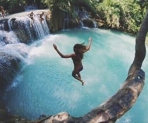 jumping, summer, and travel image