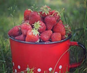 mug, red, and strawberries image