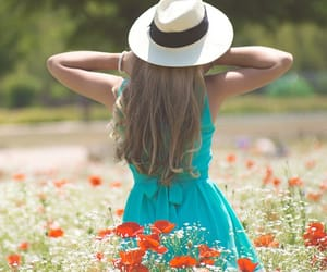 flowers, hair, and hat image