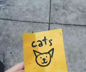 cats, yellow, and drawing image