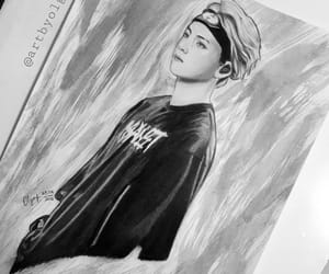 art sketch, black and white, and painting image