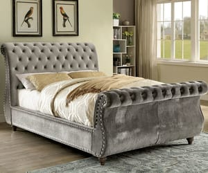 bed, bedroom, and sleigh image