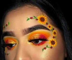 makeup, flowers, and yellow image