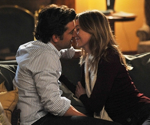 derek, kiss, and meredith image