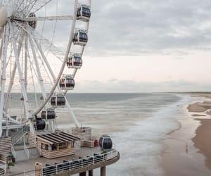 beach, ferris wheel, and netherlands image