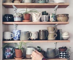 cup, shelf, and coffee image