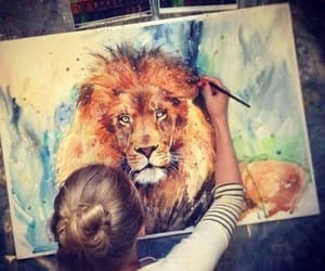 art, girl, and lion image