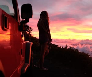 car, girl, and sky image