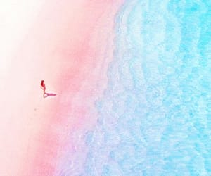 pink, beach, and blue image