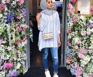 fashion, flowers, and hijab image