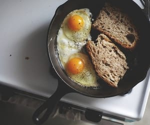 food, bread, and fried eggs image