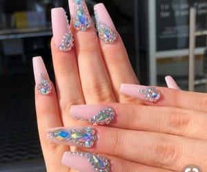 nails, acrylic, and diamond image