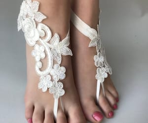 bohemian, white sandals, and bridesmaid image