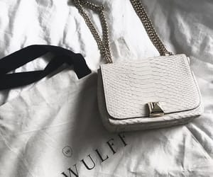 bag, gold, and white image