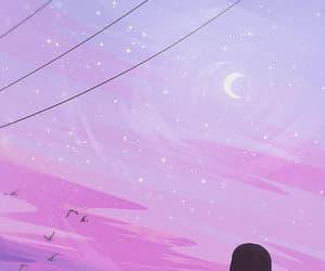 sky, art, and moon image
