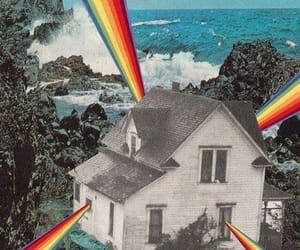 rainbow, house, and art image