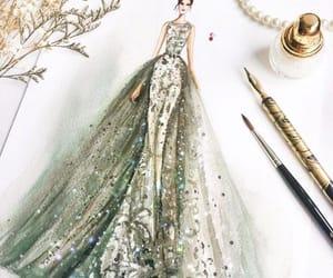 beautiful, drawing, and dress image