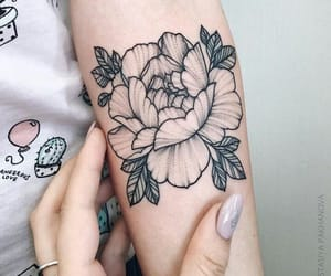 art, dotwork, and flowers image