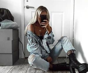 blonde, fashion, and denim image
