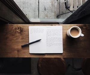 coffee, book, and journal image
